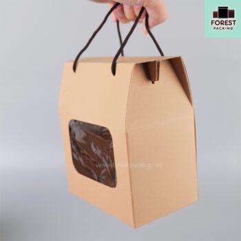 กล่องคุกกี้ กล่องใส่ขนม มีหน้าต่างใส พร้อมเชือก สีน้ำตาล (แพค10 ใบ) 4