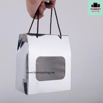 กล่องคุกกี้ กล่องใส่ขนม มีหน้าต่างใส พร้อมเชือก สีเงิน (แพค10 ใบ) 4
